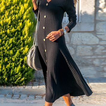Casual Black Button Front Long Sleeve Ribbed Maxi Dress