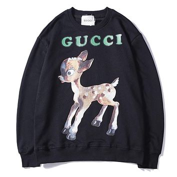 GUCCI cartoon deer autumn new floral print round neck loose sweater F-A-KSFZ black
