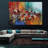 """Multicolored 70"""" Large Abstract Painting on Canvas, Original Oil Paintings Luxury style modern wall art living room art decor"""