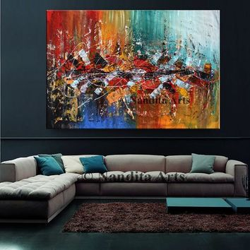 "Multicolored 70"" Large Abstract Painting on Canvas, Original Oil Paintings Luxury style modern wall art living room art decor"
