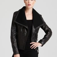 KORS Michael Kors Asymmetrical Leather Jacket | Bloomingdale's