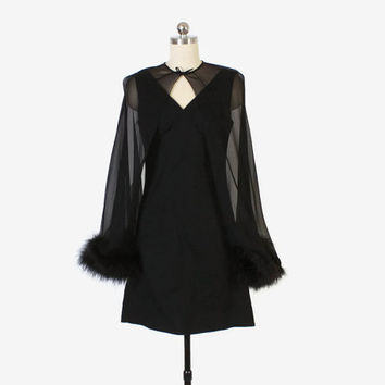 Vintage 60s Cocktail DRESS with Maribou CAPE / 1960s Black Mini Dress with Feather Trim Sheer Capelet S