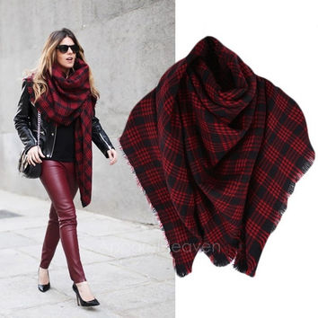 New Wool Blend Poncho Plaid Cape For Women Fashion Shawls And Scarves AP = 1957927684