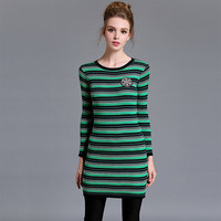 2016 Trending Fashion Knit Stripes Printed Women Elastic Stretch One Piece Dress  Warm Sweater Cardigan Coat Jacket Outerwear _ 10399