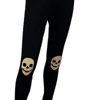 eVogues Plus size Skull Patch Legging Black