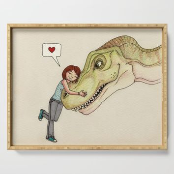 I love dinosaurs Serving Tray by savousepate