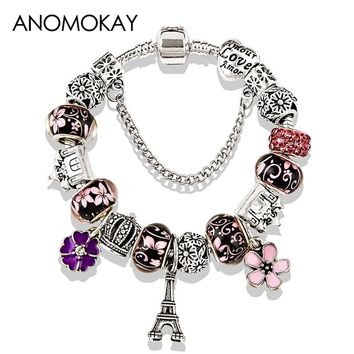 2018 Antique Silver Color Eiffel Tower Pandora Charm Bracelet Crystal Flower Bead Bracelets & Bangles for Women Jewelry Gift
