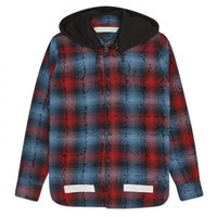 Indie Designs Diagonal Check Hooded Shirt