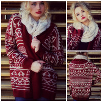 Cabin Fever Rust Tribal Cardigan