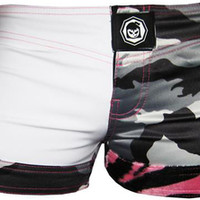 Fighter Girls Pink Zebra Womens MMA Short