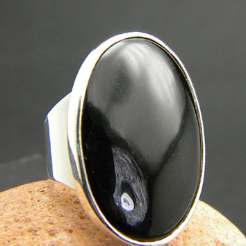 Large black onyx ring, sterling silver, huge oval black stone, statement ring, cocktail ring, boho black jewelry, black stone ring,