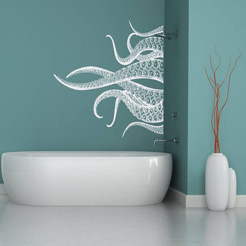 Octopus Tentacle Wall Decal Sea Animal Stickers Bathroom Ideas- Kraken Decal, Octopus Tentacles Waterproof Vinyl Decal Sticker for Home #203