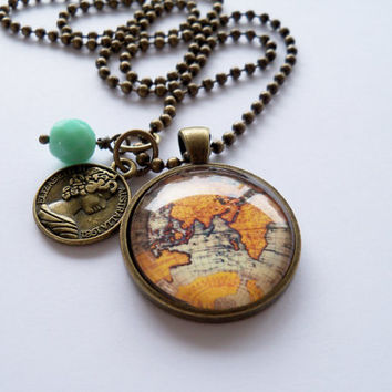 Globe Necklace - Ancient World Map - 1 Inch Map Pendant Necklace - Adoption Jewelry - Travel Necklace - Your choice of bead and charm