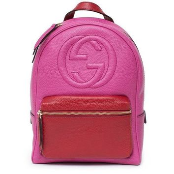 ESBON3F Gucci Soho Backpack Bag Leather Pink Rosette Hibiscus Red Shoulder Italy New