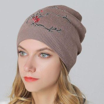 ac VLXC Wool Knit Winter Ladies Embroidery Pullover Outdoors Thicken Double-layered Hats [110448607257]