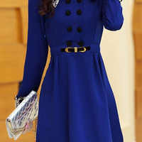 Blue Button-Up Polo Collar Flounce Dress