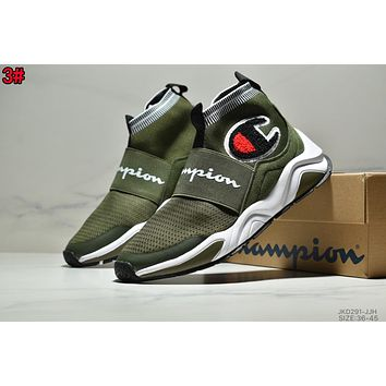 Champion Popular Men Women Casual Knitting Sport Running Shoes Socks Sneakers 3# Green
