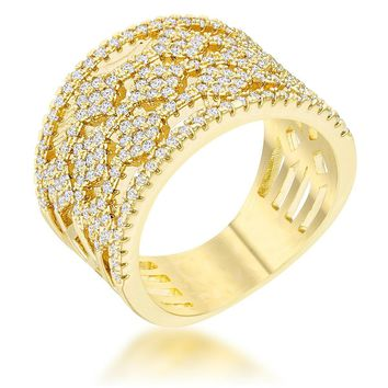 Marlene 0.6ct CZ 14k Gold Wide Band Cocktail Ring, Size 5