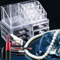 Professional Makeup Organizer Clear Acrylic Drawers Grids Display Box Storage Cosmetics