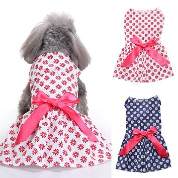 Lovely Pet Dog Puppy Cat Flower Pattern Summer Dress Costume Clothes Apparel