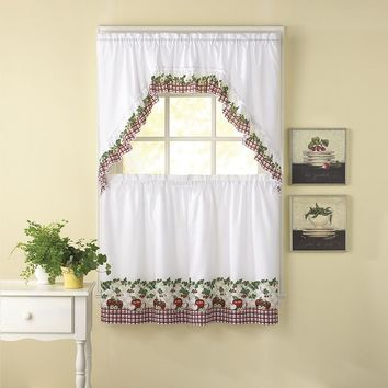 CHF Apple Blossom 3-pc. Swag Tier Kitchen Curtain Set