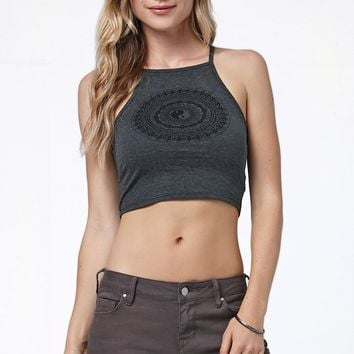 LA Hearts Yin Yang Mandala Goddess Neck Cropped Racerback Tank Top - Womens Tee - Black