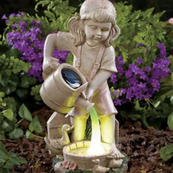 Solar Lighted Watering Garden Statue Girl Duck Lawn Patio Deck Yard Garden Decor