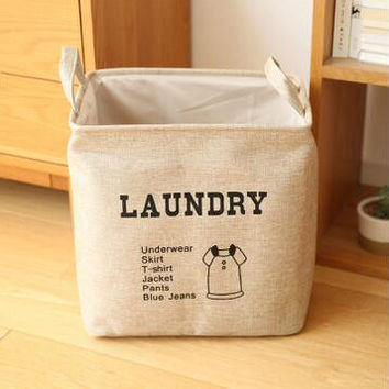 Linen Foldable Laundry Hamper Bag Dirty Clothes Storage Basket Sundries Organizer