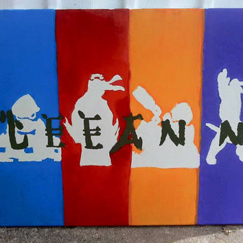 Personalized Multi-colored Canvas with Silhouettes of Bandana'ed Turtles and Ninja-style Lettering