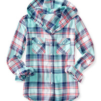 Aeropostale  Long Sleeve Hooded Plaid Woven Shirt