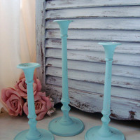 Sea Glass Blue Painted Brass Metal Candle Stick Holders, Beach Cottage Light Blue Set of 3 Candle Holders, Up Cycled Vintage Candlesticks