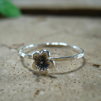 Stacking Ring Silver Cherry Blossom