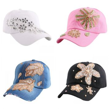 Luxury Floral Snapback white pink casual baseball caps casquette gorra hats