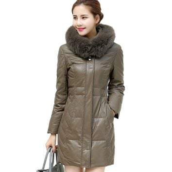 Leather Down Cotton Coat 2017 New Winter Jacket Women Fox Fur Collar Warm Plus size Fashion Beautiful Hooded Soft Long Parkas6XL