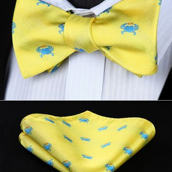 BGA01YS Yellow Animal Pattern Wedding Bowtie Men Silk  Self Bow Tie handkerchief set