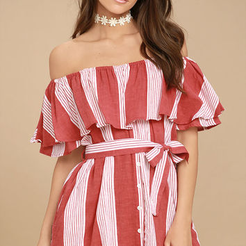 Faithfull the Brand Amalfi Rust Red Striped Dress