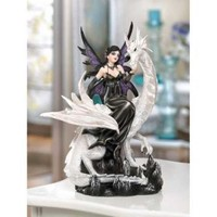 Fairy Atop Dragon Statue Home Decor