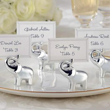 "Fast Delivery Wedding Favor ""Lucky In Love"" Silver-Finish Elephant Place Card Holder Birthday Wedding Party Baby Shower Gift"