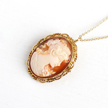 Carved Cameo Necklace - Vintage 14k Rosy Yellow Gold Filled Cameo Pendant Brooch - 1950s Oval Twisted Scalloped Fine Jewelry on 14k GF Chain