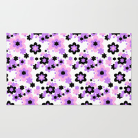 Pink Purple Black Floral Rug by Decampstudios