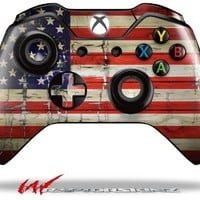 Painted Faded and Cracked USA American Flag - Decal Style Skin fits Microsoft XBOX One Wireless Controller