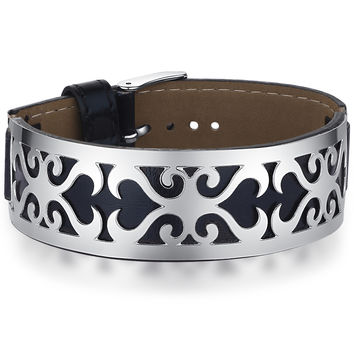 Leather and Stainless Steel Stylized Hearts Belt Buckle Bracelet