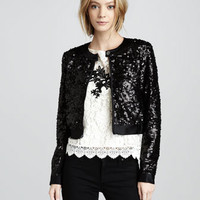 Nanette Lepore Sequined Bomber Jacket & Good Fortune Embroidered Lace Top