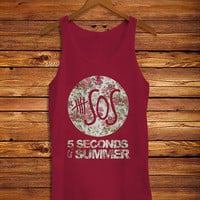 5SOS Flower Women's Tank Top, 5 Seconds of Summer Flower Design Tank Top, Awesome Women's Tank Top