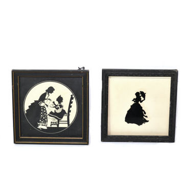 Vintage Silhouette Picture Framed Silhouette Wall Decor Silhouette Wall Art Silhouette Portraits - Set of 2
