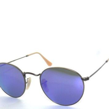 Gotopfashion RAY BAN SunglaSSeS 3447 BRUSHED BRONZE/VIOLET MIRROR 167/1M ROUND Rayban
