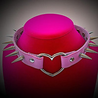 Pink Genuine Leather Spiked Choker Heart Necklace