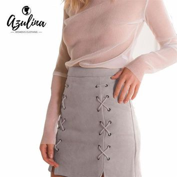 Azulina Women Leather Suede Pencil Black Mini Skirt 2017 Spring Autumn High Waist Short Bodycon Lace Up Skirts Sexy Split Skirts