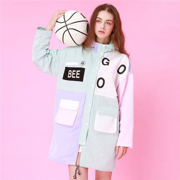 S10-GOOD letter color stitching hooded large windbreaker women loose long tide coat bee goo pastel jacket ,support drop shipping