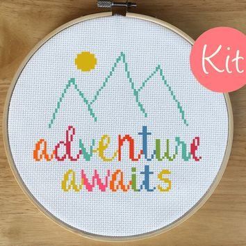 Modern Quote Cross Stitch Kit - Adventure Awaits